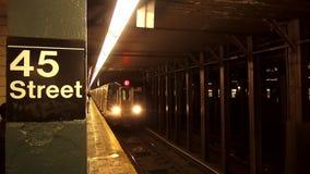 45 Street New York Subway station Train arriving USA cityscapes. 45 Street New York Subway station Train arriving United States cityscapes videoclip stock footage