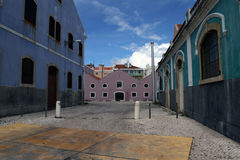The empty colored street in Belem Royalty Free Stock Photo