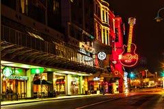Street in Niagara Falls on New Year`s EveÑŽ. Hard Rock Cafe in Niagara Falls. Night illumination stock photography