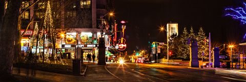 Street in Niagara Falls on New Year`s Eveю royalty free stock photography