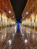 Nice tramway rails. Street in nice taken from place massena Stock Photo