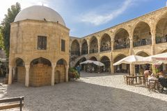 Street in Nicosia city. Historic building with restarants and bazaar on the  street , Turkish part Nikosia city  Lefkosia . Cyprus . Capital city of Cyprus Stock Image