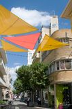 Street in Nicosia - color awning blind - Cyprus Royalty Free Stock Photos