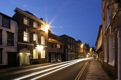 Street at night. Night shot of a hotel in Tewsbury England royalty free stock photos