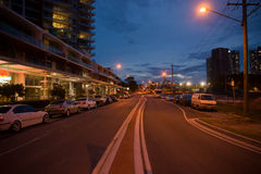 The street in the night. Melbourne Victorla ,Australia Royalty Free Stock Images