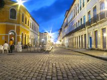 Street at night. Historical Center of São Luis - Maranhão - Brazil Royalty Free Stock Image