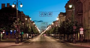 Street at night. Look at the main street in the center of Vilnius, Lithuania Royalty Free Stock Photography