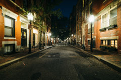 A street at night, in Beacon Hill, Boston, Massachusetts. Stock Images