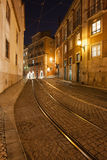Street at Night in the City of Lisbon Royalty Free Stock Photography