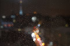 Street of the night city, at night, in the rain royalty free stock images
