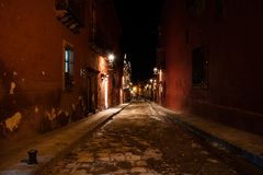 Street at nigh in San Miguel Royalty Free Stock Photography