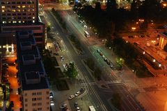 Street at night. Street lights, city at night, street without cars, street in Warsaw, street of the town royalty free stock photo