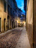 Street at night in Old Town of Bergamo Stock Image