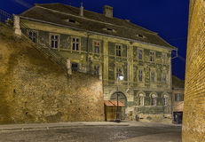Street at night in Sibiu, Romania. Royalty Free Stock Photo