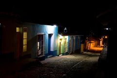 Street at night, Trinidad, Cuba Stock Images