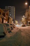 Street at night under snow Royalty Free Stock Photo
