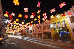Street of nightlife at china town, singapore. Festival royalty free stock photography