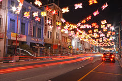 Street of nightlife at china town, singapore Stock Photos