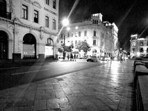 Street nigth Lima noche. Calles downtown luces royalty free stock photo