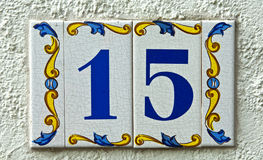 Street number plate 15 Stock Image