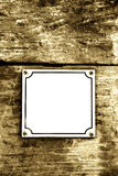 Street number plate, empty, vintage Royalty Free Stock Photos
