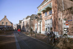 Street and nutsgebouw in the dutch town of Nijkerk Stock Image