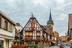 Street in Obermai, Alsace, France Stock Photos