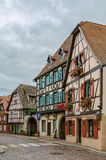 Street in Obermai, Alsace, France Royalty Free Stock Images