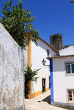 Street of Obidos. Traditional white houses in Obidos, Portugal stock images