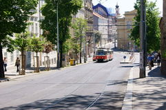 Street Of Prague With Tram Stock Images