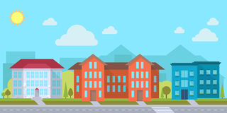 Street with office. Or administrative buildings, outdoor cartoon architecture set, vector illustration Royalty Free Stock Images