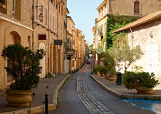 Street in old Aix en Provence. Street with typical houses in the old quarter of Aix en Provence, France Stock Photos