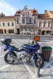 On the street of old Brasov in Romania stock photography