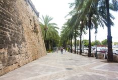 Street and old buildings in the historic city center of Palma Mallorca, Spain 30.06.2017. Stock Photography