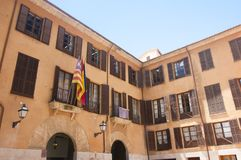 Street and old buildings in the historic city center of Palma Mallorca, Spain 30.06.2017. Royalty Free Stock Images