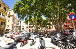 Street and old buildings in the historic city center of Palma Mallorca, Spain 30.06.2017. Royalty Free Stock Photography