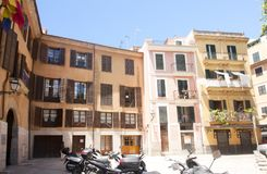 Street and old buildings in the historic city center of Palma Mallorca, Spain 30.06.2017. Royalty Free Stock Photos
