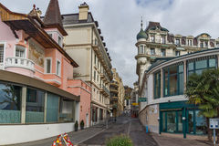 Street and old buildings in Montreux, Switzerland Stock Photo