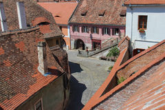 Street in the Old Center of Sibiu, Romania Royalty Free Stock Photo