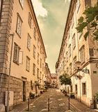 Street in the old city center of Ljubljana, Slovenia. Royalty Free Stock Photo
