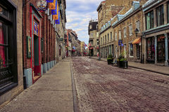 A street in Old City. A colorful picture of a street in Old Montreal. This is an Hdr image with a lot of details. It shows an old city street with construction Royalty Free Stock Image