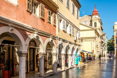 In the street of old city Corfu Royalty Free Stock Photography