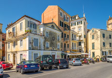 In the street of old city Corfu Stock Images