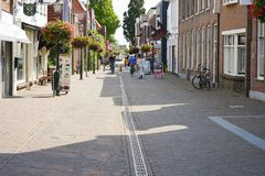 Street of old city. Dorpstraat. 30 August 2018. Zoetermeer. Netherlands royalty free stock image