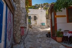 Street of the old city in Greece royalty free stock photo