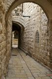 A street in the old city jerus. Via dolorosa - the last jesus way in jerusalem Stock Photos