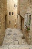 A street in the old city jerus. Via dolorosa - the last jesus way in jerusalem Stock Photos