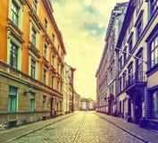 Street in old city of Riga, Latvia, Europe Stock Photos