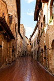 Street in an old city in Ttuscany. Street in an old city in tuscany Royalty Free Stock Photo
