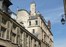 Street with old constructions. In the center of Paris Royalty Free Stock Images